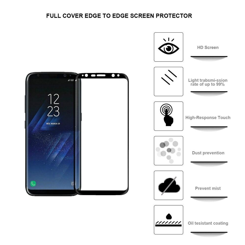 Գունավոր ապակի Samsung Galaxy S8 S8 Plus 3D Ամբողջ - Բջջային հեռախոսի պարագաներ և պահեստամասեր - Լուսանկար 2
