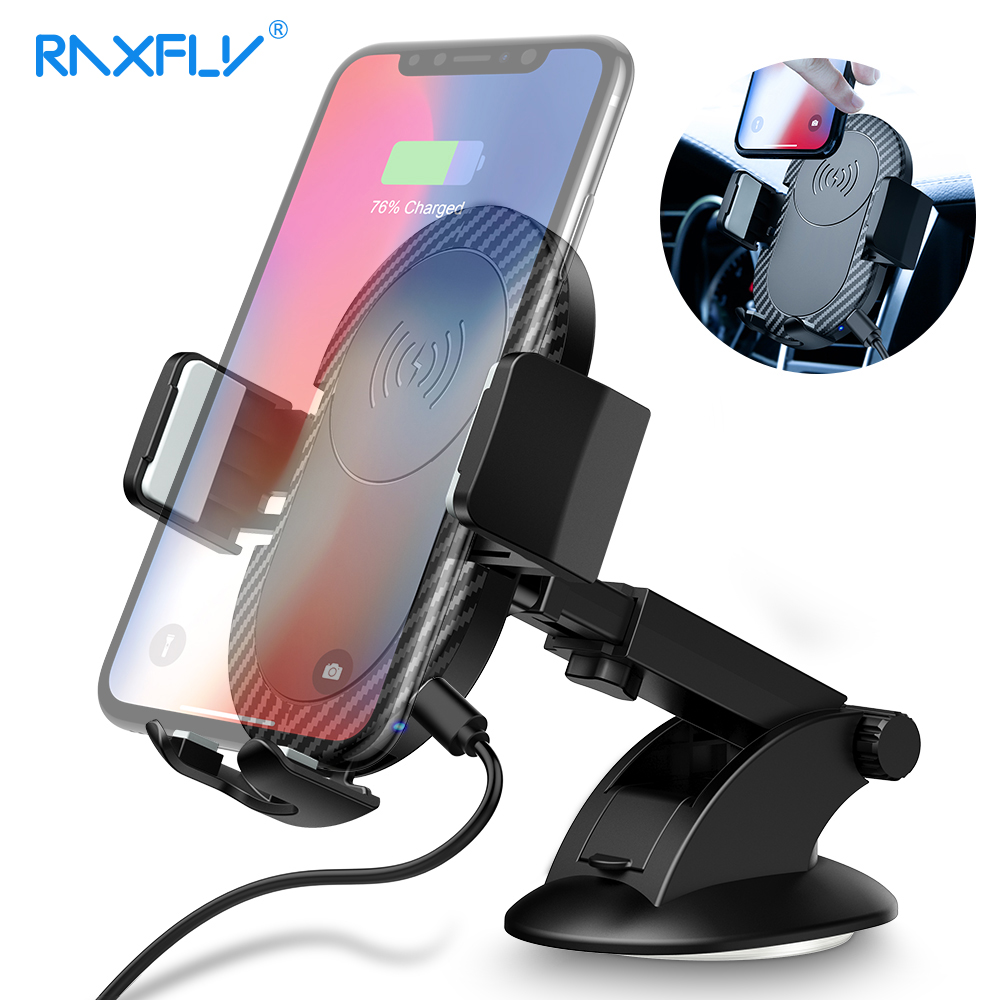 RAXFLY 10W Car Wireless Charger For Samsung S9 Note 9 Air Vent Dashboard Car Phone Holder QI Wireless Charger For iPhone 8 X 9
