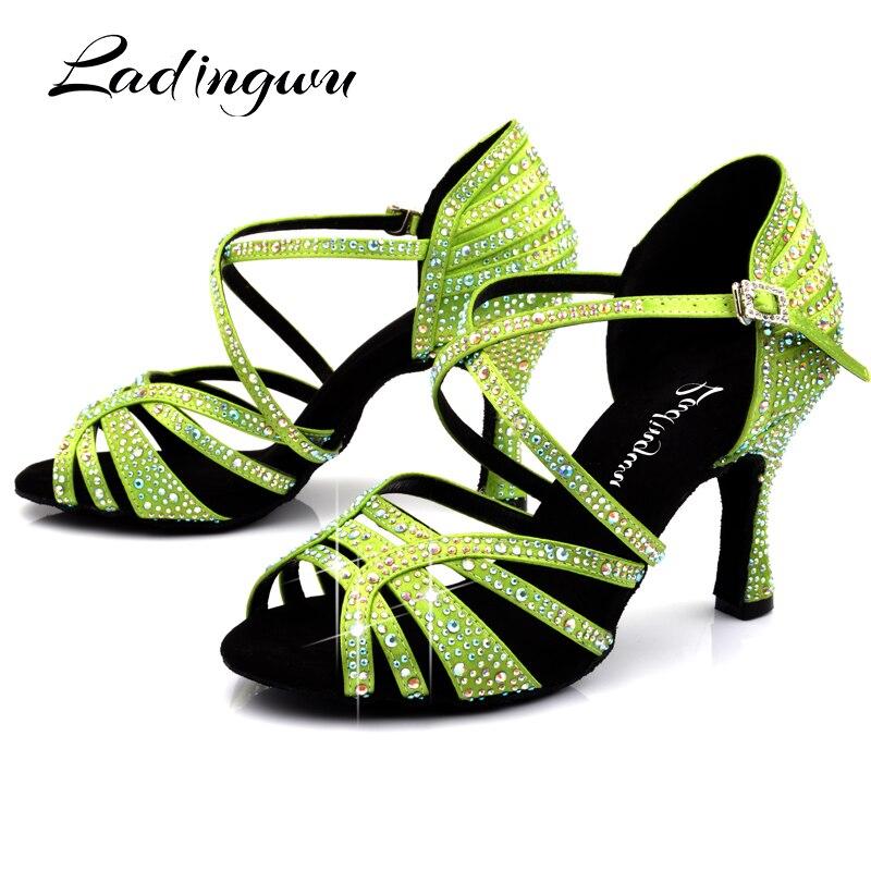 Ladingwu Light Green Satin Latin Dance Shoes Women Profession Salsa Dance Shoes Women Ballroom Dance Sandals Rhinestone Shoes