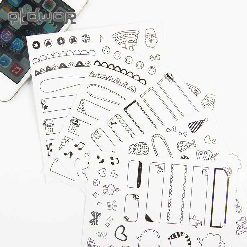 12 Sheets/2set DIY Black Calendar Paper Sticker for Scrapbook Diary Planner Sticky Photo Album Decor Stationery Sticker Children bigbang alive 2012 making collection repackage 2 photo books 150pages sticker release date 2013 5 22 kpop album