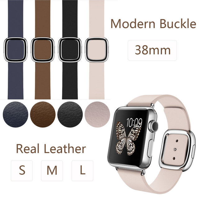 New Fashion Mdern Buckle Band for Apple Watch Leather With Two Piece Magnetic Closure,Real Leather Strap for iwatch 38MM