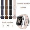 Nova moda mdern fivela banda para apple watch de couro com duas peças de fecho magnético, pulseira de couro real para iwatch 38mm