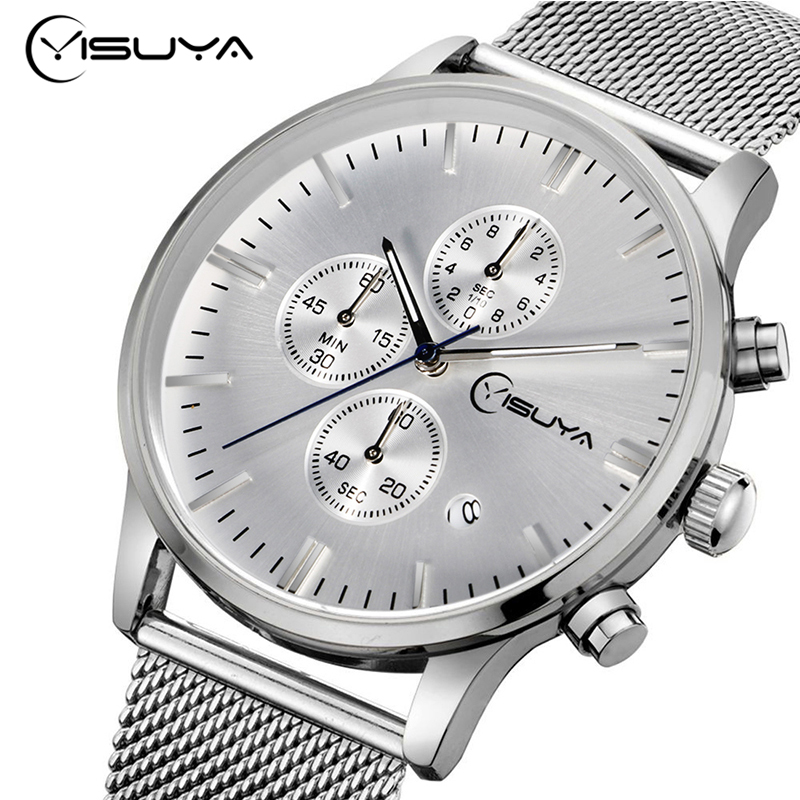 2016 Top Brand YISUYA Stainless Steel Mesh Wrist Watch Men's Chronogragh Calendar Sports Quartz-watch Male Gift
