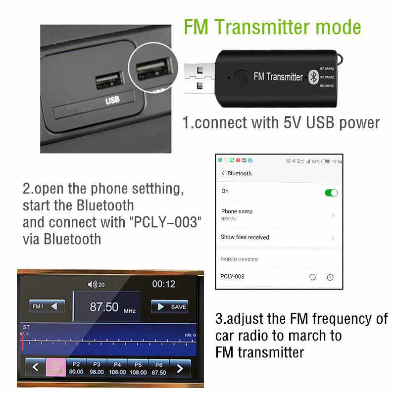 Auto USB Bluetooth 5.0 fm-zender 3.5MM Draadloze Audio Ontvanger Met microfoon voor Bluetooth Gratis FM Radio Mp3 Speler