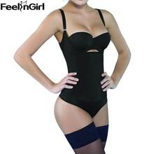 FeelinGirl Women Seamless Latex Bodysuit Firm Control Slimming Body Shaper Magic Underbust Straps Tummy Waist Cinchers Shaper -B