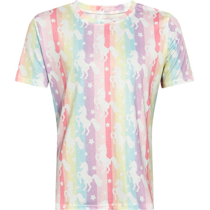 T-shirt for Women 2018 Summer Short Sleeve Unicorn Rainbow Color Striped Printed Tee Top for Girls Pattern T Shirt Casual Tshirt