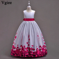 Vgiee Christmas Dress Girl Kids Baby Pincess Girl Dresses For Weddings Sleeveless Solid Party Crystal Dress 2019 CC060