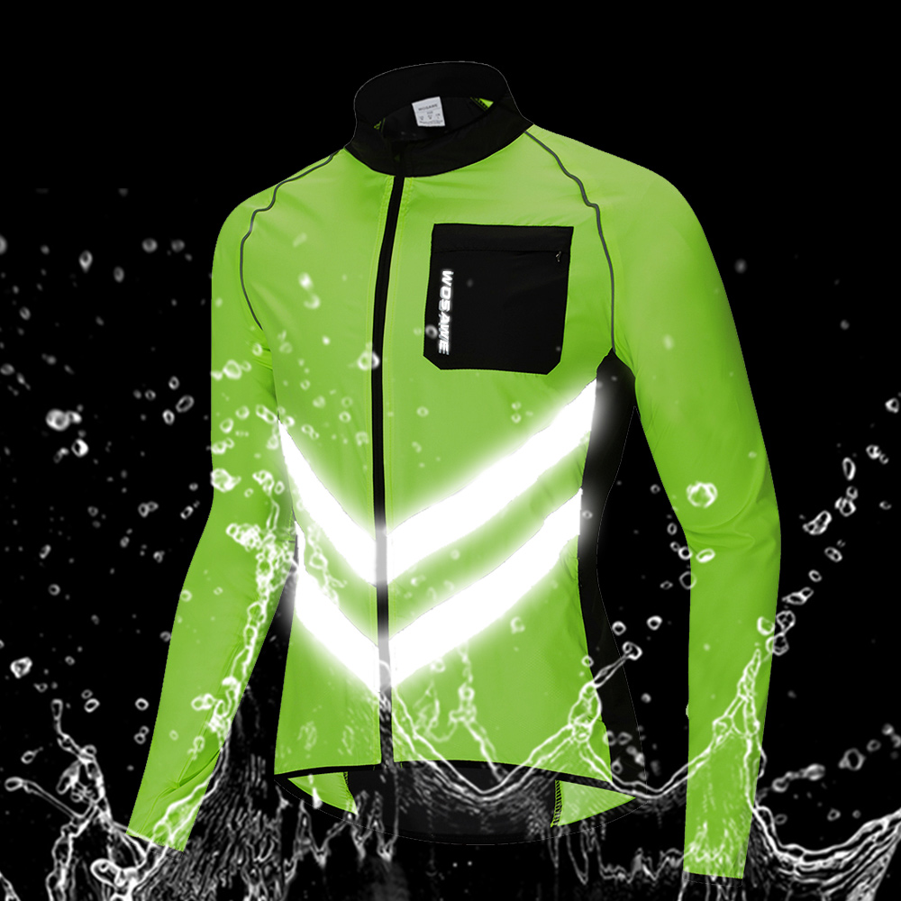 running - WOSAWE Breathable Reflective Running Jacket Water Resistance Windproof Waistcoat Windbreaker High Visibility Thin Sports Jacket