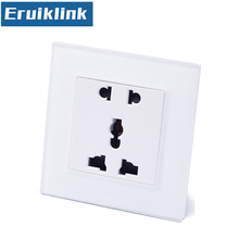 Eruiklink EU/UK/US Power Socket, White Crystal Glass Panel AC110~250V 10A Wall Socket