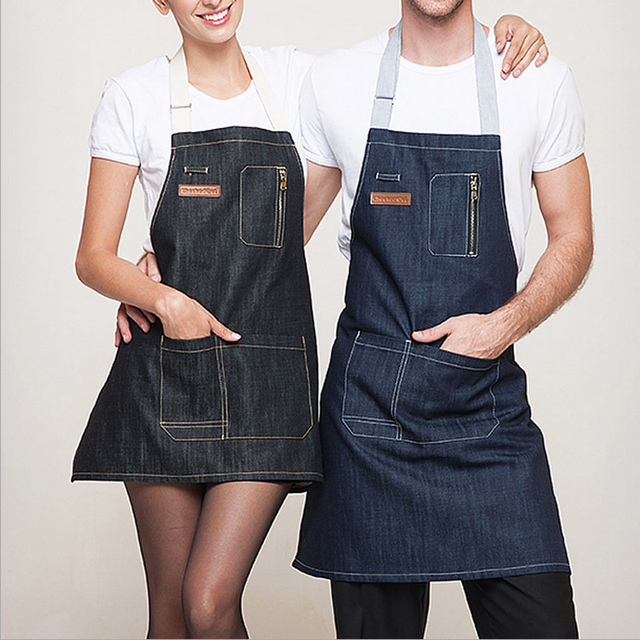 Charmant High Quality Cotton Denim Apron Restaurant Waiter Chef Kitchen Aprons For  Men Women Short Apron With