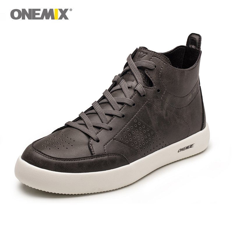 Onemix men skateboarding shoes in brown outdoor men running shoes breathable male walking shoes soft boarding