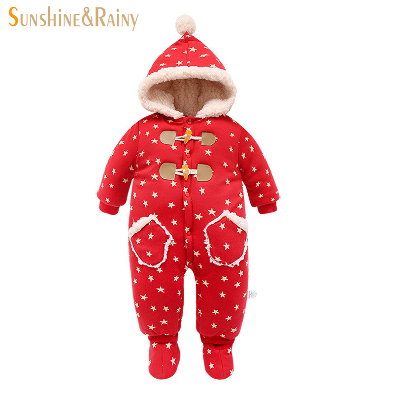 Christmas Newborn Clothes Infant Kids Winter Overalls For Girls Cartoon Baby Boys Hooded Rompers Warm Cotton Baby Snow Suits  new 2016 autumn winter rompers newborn baby clothes girls boys overalls kids knitted cotton christmas jumpsuits hats sets