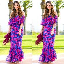 2018 Fashion Sexy Women Summer Boho Long Colorful Flower Pattern Maxi Party Beach Chiffon Dress Sundress