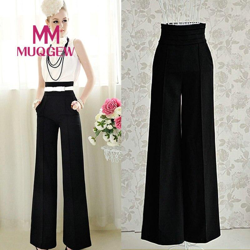 MUQGEW New Plus Size Long Casual Trousers Women Solid High Waist Loose Chiffon   Pants   Summer Formal   Wide     Leg     Pants   feminina