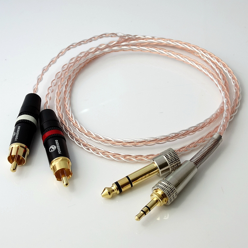 HIFI Audio Adapter Extended Cable 1.5m  8cores Litz braid 1/8 3.5mm TO 2 RCA Male 5N PCOCC Hybrid Silver plated cable