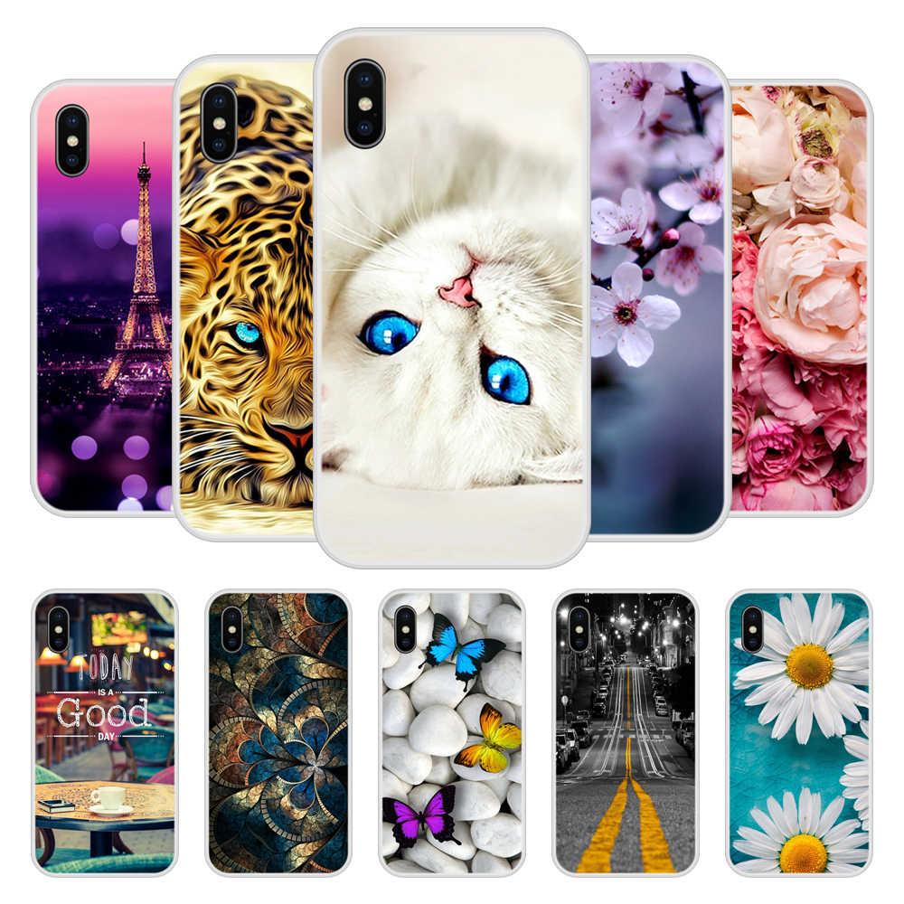 Etui na telefony dla iPhone X 8 7 6 6 S 6 S Plus miękkiego silikonu TPU śliczne wzorzyste farby do iPhone 5S 5 S SE przypadkach