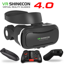 VR Shinecon four.zero Stereo Digital Actuality Smartphone 3D Glasses Headset Google BOX + Headphone/Management Button for three.5-5.5′ Cell