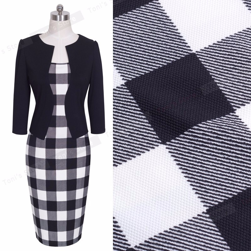 Nice-forever One-piece Faux Jacket Brief Elegant Patterns Work dress Office Bodycon Female 3/4 Or Full Sleeve Sheath Dress b237 28