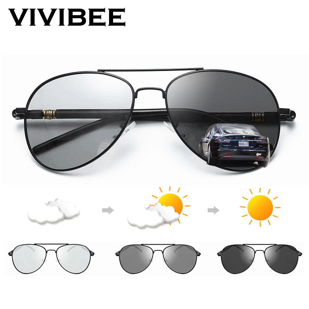VIVIBEE Photochromic Sunglasses Mens Aviation Polarized UV400 Day And Night Vision Driving Sun Glasses Women Titanium Goggles