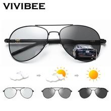 VIVIBEE Photochromic Sunglasses Mens Aviation Polarized UV400 Day and Night Vision Driving Sun Glasses Women Titanium Goggles