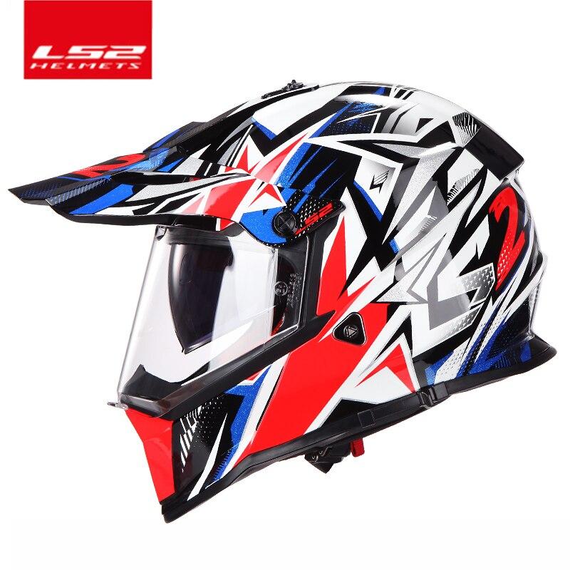 100% Véritable LS2 MX436 off road moto casque avec pare-soleil Moto-Cross motocross casque double objectif racing moto ECE prouvé