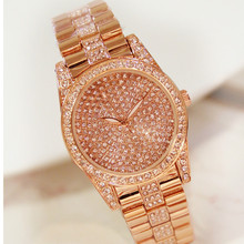 2019 New Hot Chain Watch Without Digital Rhinestone Dial Metal Strap Gold and Silver Rose Female Fashion & Casual