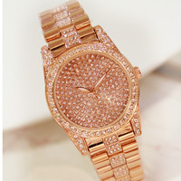 2019 New Hot Chain Watch Without Digital Rhinestone Dial Metal Strap Gold and Silver Rose Gold Female Watch Fashion & Casual