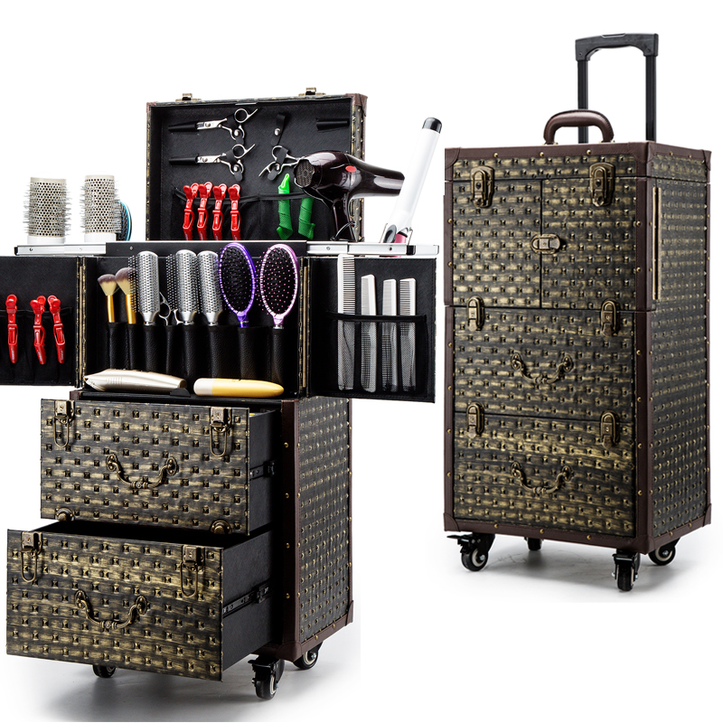 Luxe Nagels Make Toolbox, Kappers Trolley Bagage Vintage Metal Travel Bagage Tas, Beauty Tattoo Salons Trolley Koffer Waterdicht, Schokbestendig En Antimagnetisch