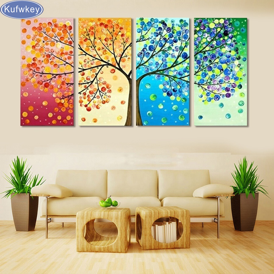 4 Pieces Colourful Leaf Trees DIY dimond painting Modern Wall Art full square drills mosaic Canvas