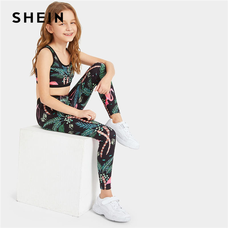SHEIN Kiddie Toddler Girls Plants Print Crop Top And Elastic Waist Leggings Set 2019 Summer Sleeveless Active Wear Suit Sets jungle print crop tank top and pleated shorts co ord