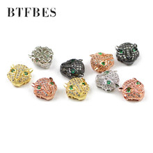 BTFBES 4pcs Green eyed Cat leopard head Pendant charm Men's bracelet making DIY Jewelry Copper beads Metal discovery create Bead(China)