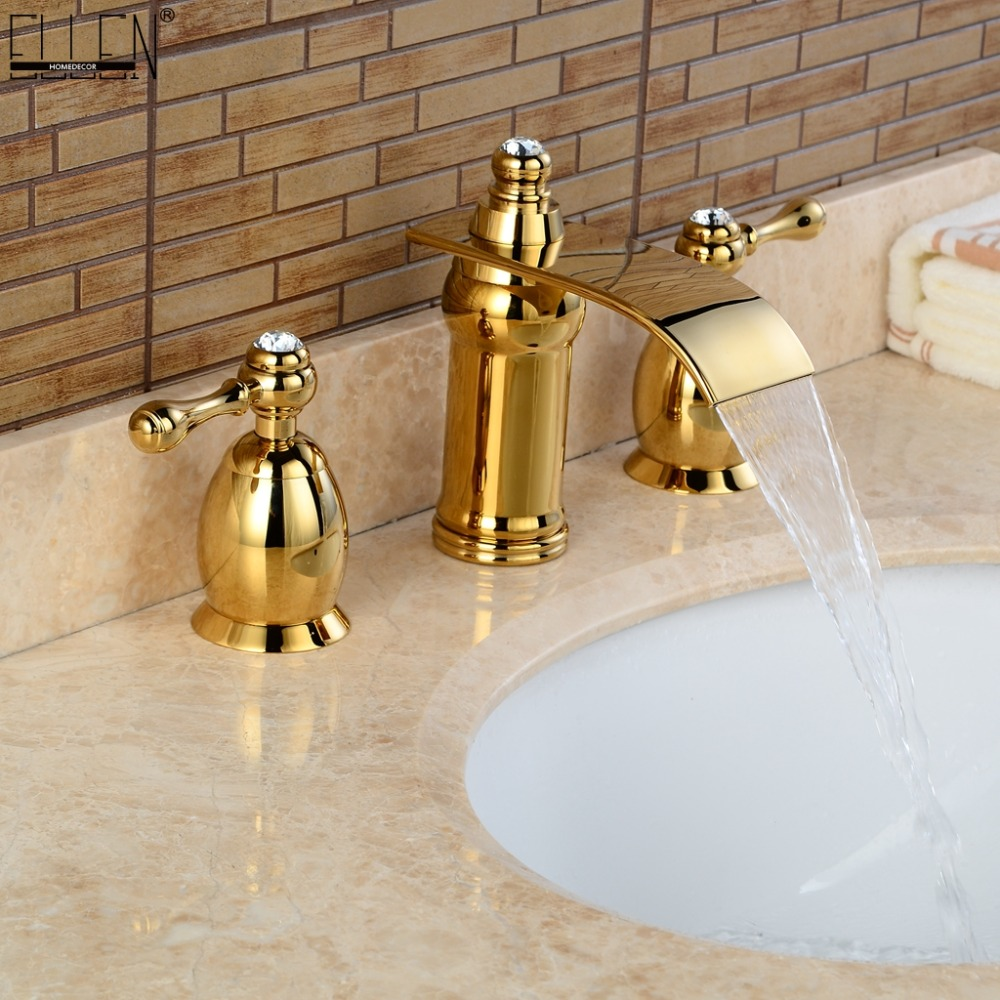 Gold Faucet Widespread Bathroom Sink Faucets Deck Mounted 3 Hole Dual Handle Golden Mixer Tap Hot and Cole FL1513GGold Faucet Widespread Bathroom Sink Faucets Deck Mounted 3 Hole Dual Handle Golden Mixer Tap Hot and Cole FL1513G