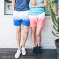 Summer Beach Shorts Para Hombres de Las Mujeres de Playa Vacaciones Mar Casulau Loose Fit Plus Tamaño Del Color del Gradiente Pantalones Cortos Pantalones Cortos