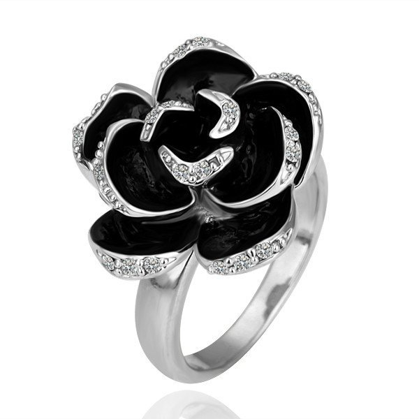 R090 BlackRose18K Silver Color Ring Jewelry Nickel Free en PlatinlatinumRhinestone Austrian Crystal Element