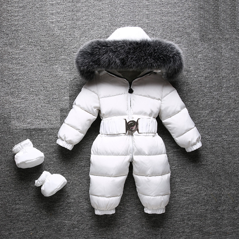 Dollplus 2018 Winter Warm Baby Rompers Jumpsuit Children Duck Down Overalls Toddler Baby Boys Girls Fur Hooded Romper Clothing
