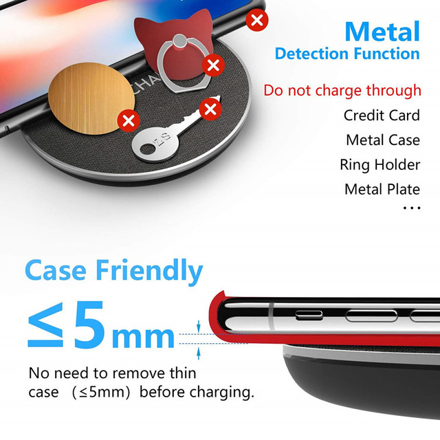 GETIHU 10W Fast Qi Wireless Charger For iPhone 8 Plus X XS MAX XR Wireless Charging Pad For Samsung S8 Note 8 Wirless for Phone