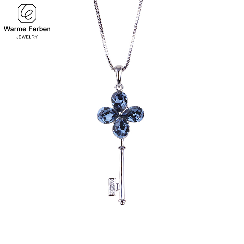 Warme Farben Crystal From Swarovski Necklace For Women Four-leaf Clover Key Chain Pendant Necklace Fine Jewelry Gift Collares