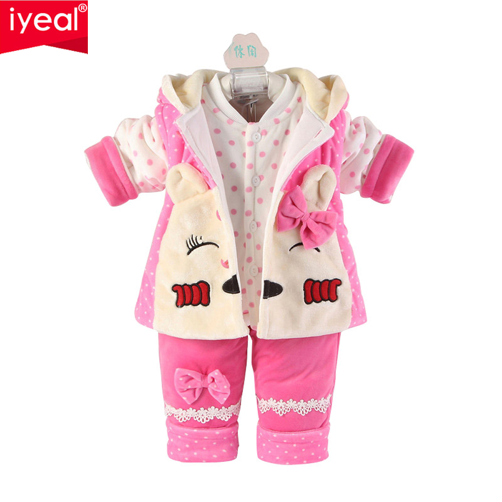 IYEAL Winter Newborn Baby Girl Clothes Set 3 Pieces Cartoon Cotton Thick Warm Coat+Vest+Trousers Infant Clothing for 0-2 Years iyeal 2017 brand baby clothes newborn bodysuit pant bib socks cotton cartoon boy girl clothing set next infant baby costume