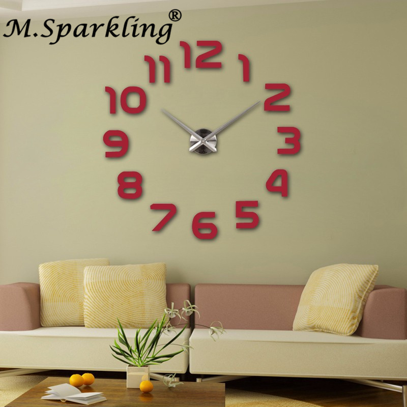 3a2e3abe346b7c Décoration de la maison Horloge Murale Grand Miroir Horloges Murales Design  Moderne Grande Taille Orologio Da parete Diy Wall Sticker Cadeau Unique  dans ...