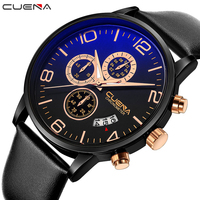 CUENA Quartz Wristwatches Fashion Mens Watches Top Brand Luxury Genuine Leather Strap Waterproof Luxury Watches Men