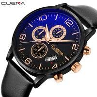 CUENA Quartz Wristwatches Fashion Mens Watches Top Brand Luxury Genuine Leather Strap Waterproof Luxury Watches Men