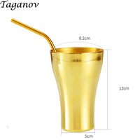 yellow brass Drinkware Cola Mugs With Straws 400ml Pure Metal copper mug drinking Straw coffee milk beer tumbler friends gifts
