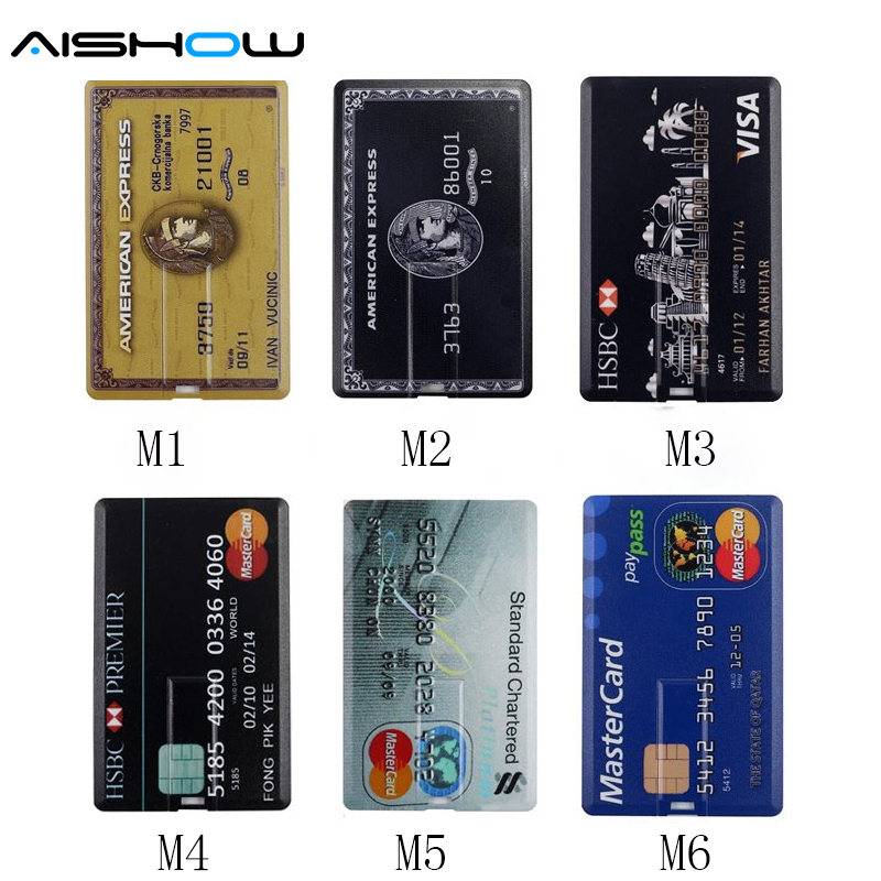 2016 New Arrival 100% Capacity Credit Card Model 4GB 8GB 16GB 32GB 64GB USB 2.0 Memory Stick Flash Pen Drive Pen Drive Pendrive