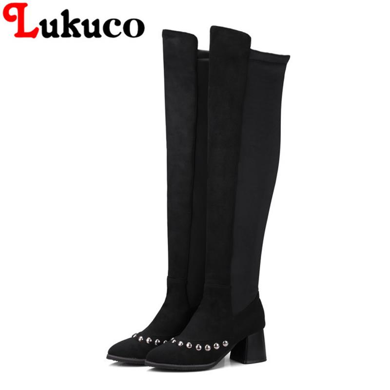 Large size 39 40 41 42 43 44 45 46 47 48 Lukuco women shoes over-the-knee boots high quality low price lady shoes free shipping