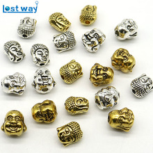10x8mm Wholesale Mixed Size 20pcs/lot Metal Charms Sliver Golden Zinc Alloy Smile Buddha Head Spacer Beads for Jewelry Making