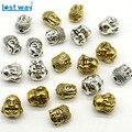 10x8mm formato misto all'ingrosso 20 pz/lotto metallo amuleti nastro d'oro in lega di zinco sorriso buddha borda testa per monili che fanno