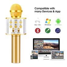 Larryjoe Bluetooth Wireless Microphone WS858 Handheld Karaoke Mic USB KTV Player Bluetooth Speaker Record Music Microphones