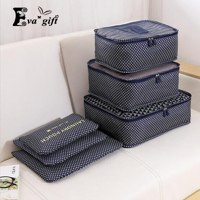 Household portable box waterproof clothes organizer storage box underwear bra packing makeup cosmetic cloth storage bag 6pcs/set