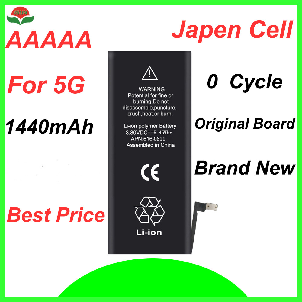 ISUN original quality  0 cycle mobile battery for iPhone 5G 1440mAh 3.7V replacement