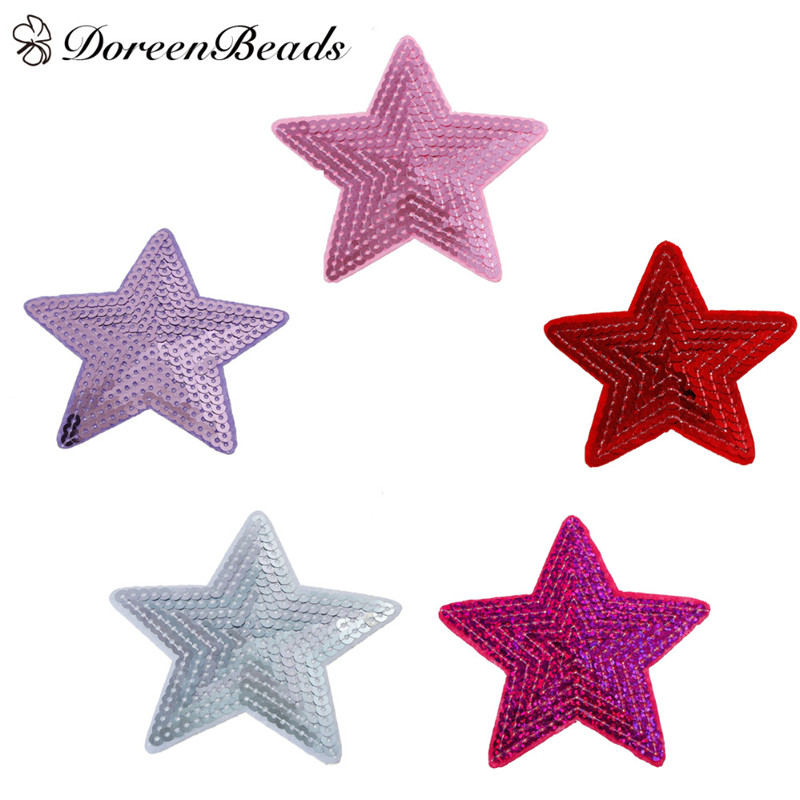DoreenBeads Purple Pink Sequined Stars Shape Polyester PVC Decorative Pasted Cloth For Women Children Bags Sweater Jeans3PCs/Set